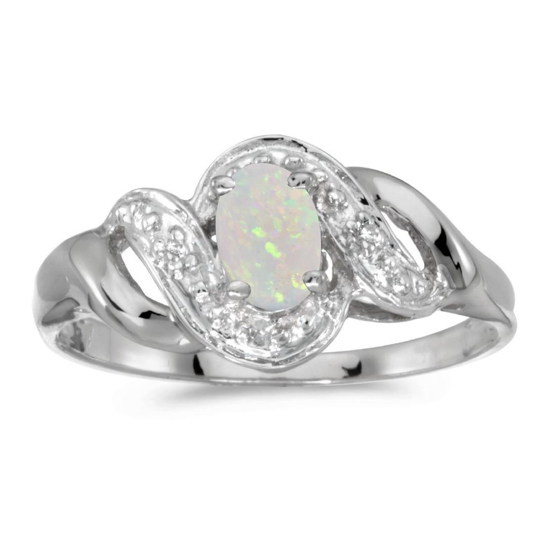 Certified 14k White Gold Oval Opal And Diamond Swirl Ri