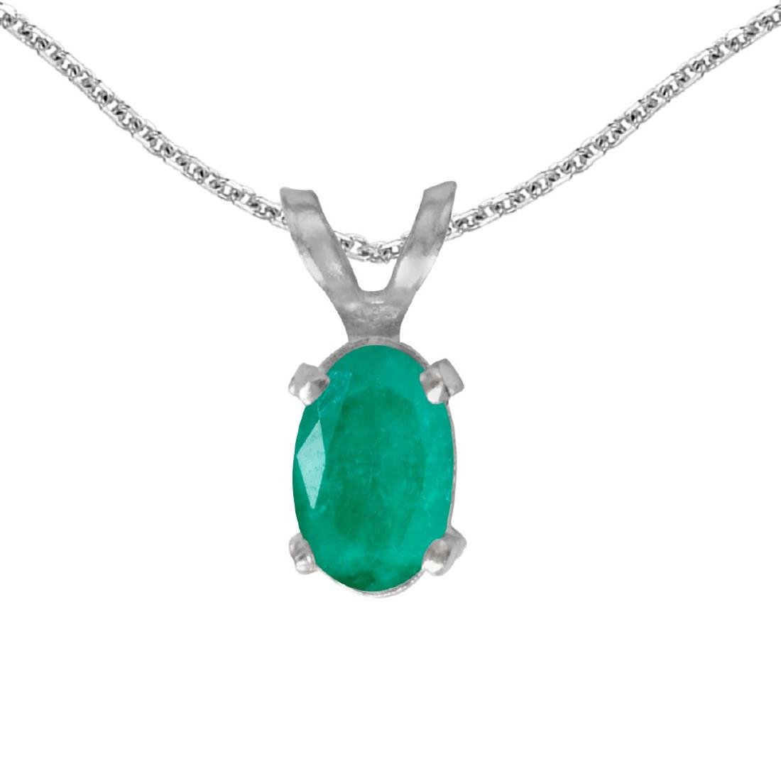 Certified 14k White Gold Oval Emerald Pendant 0.31 CTW
