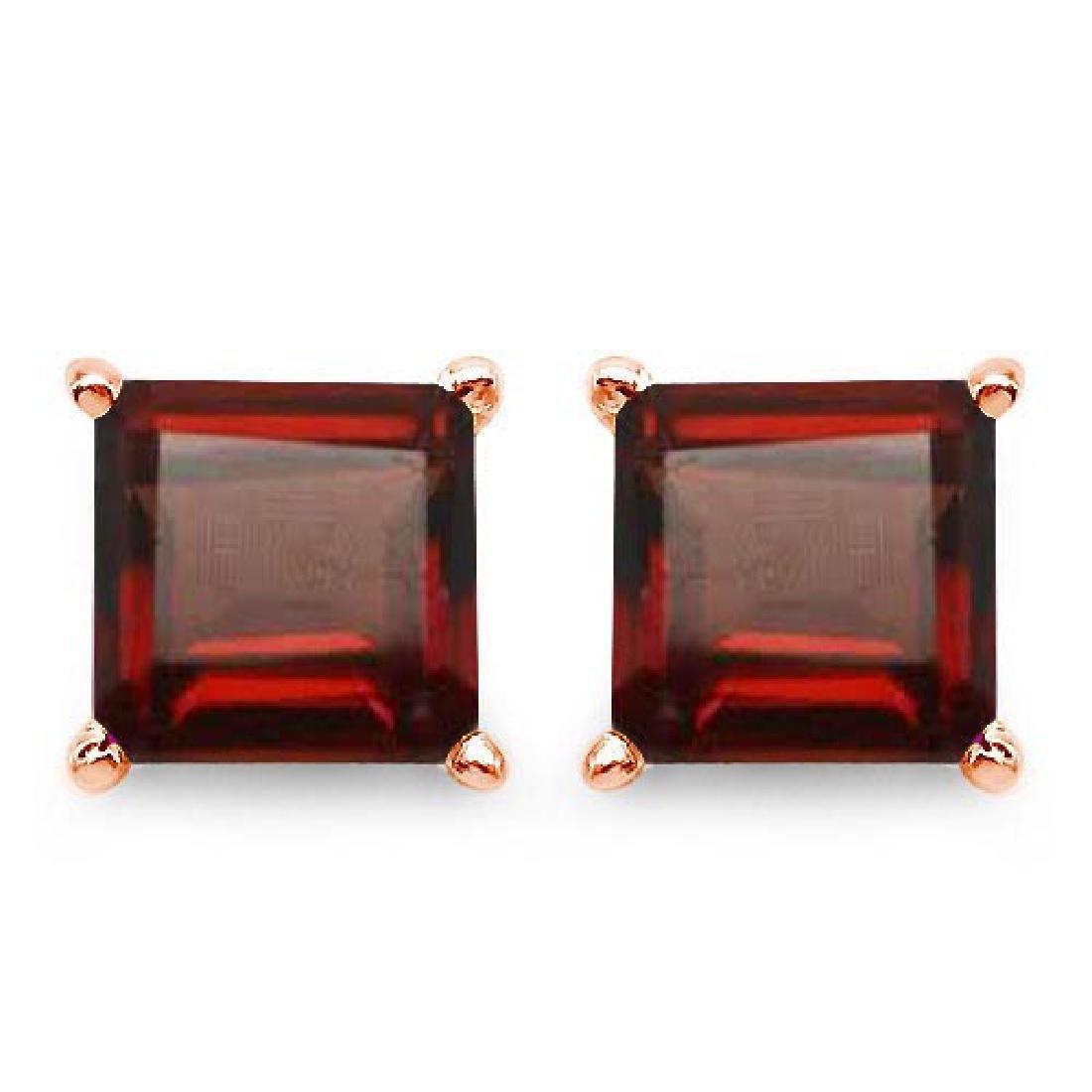 Certified 2.50 CTW Genuine Garnet And 14K Rose Gold Ear