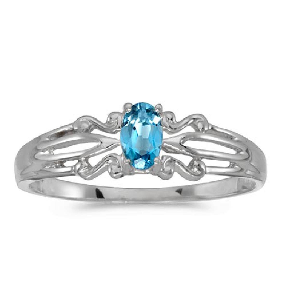 Certified 14k White Gold Oval Blue Topaz Ring