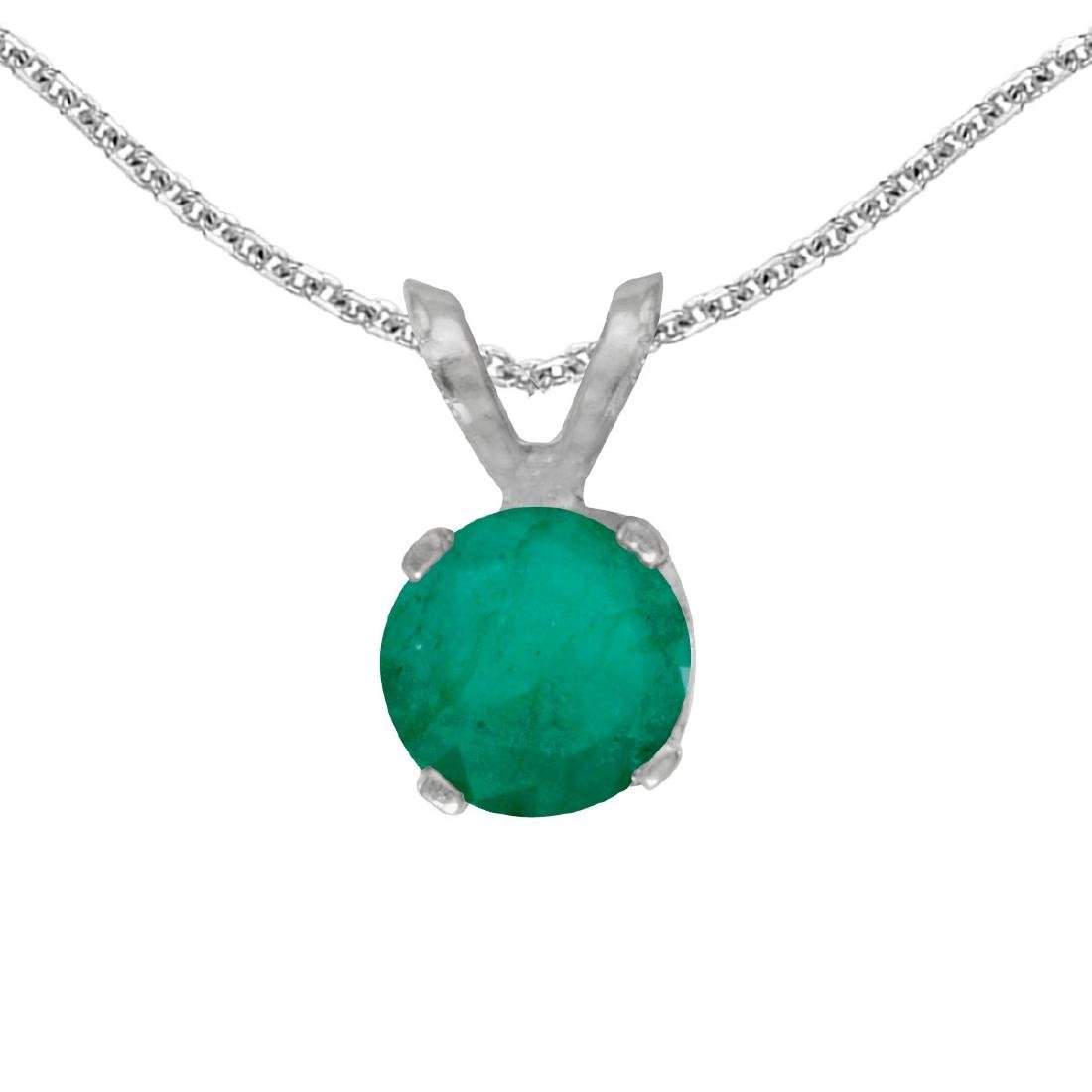 Certified 14k White Gold Round Emerald Pendant 0.33 CTW
