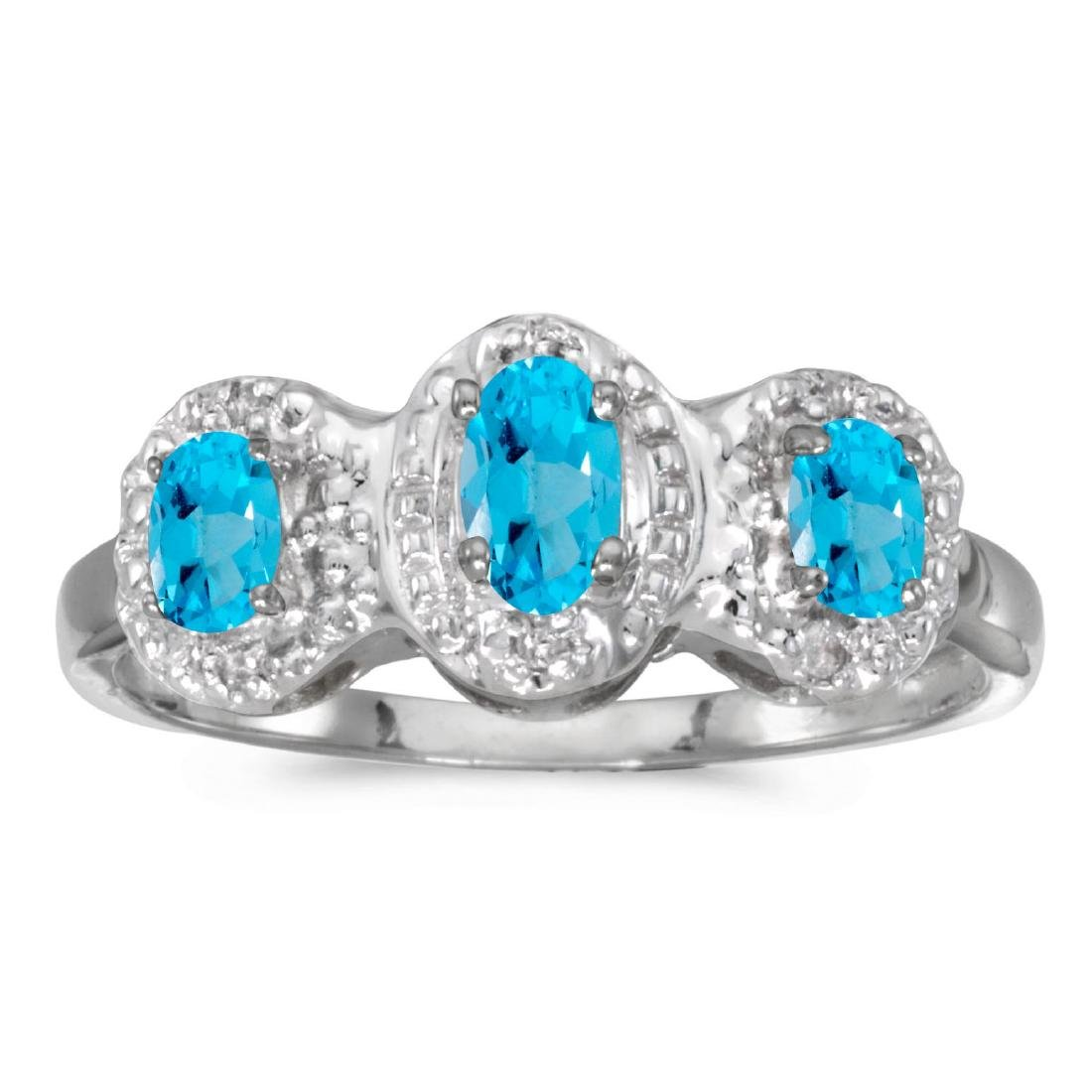 Certified 10k White Gold Oval Blue Topaz And Diamond Th