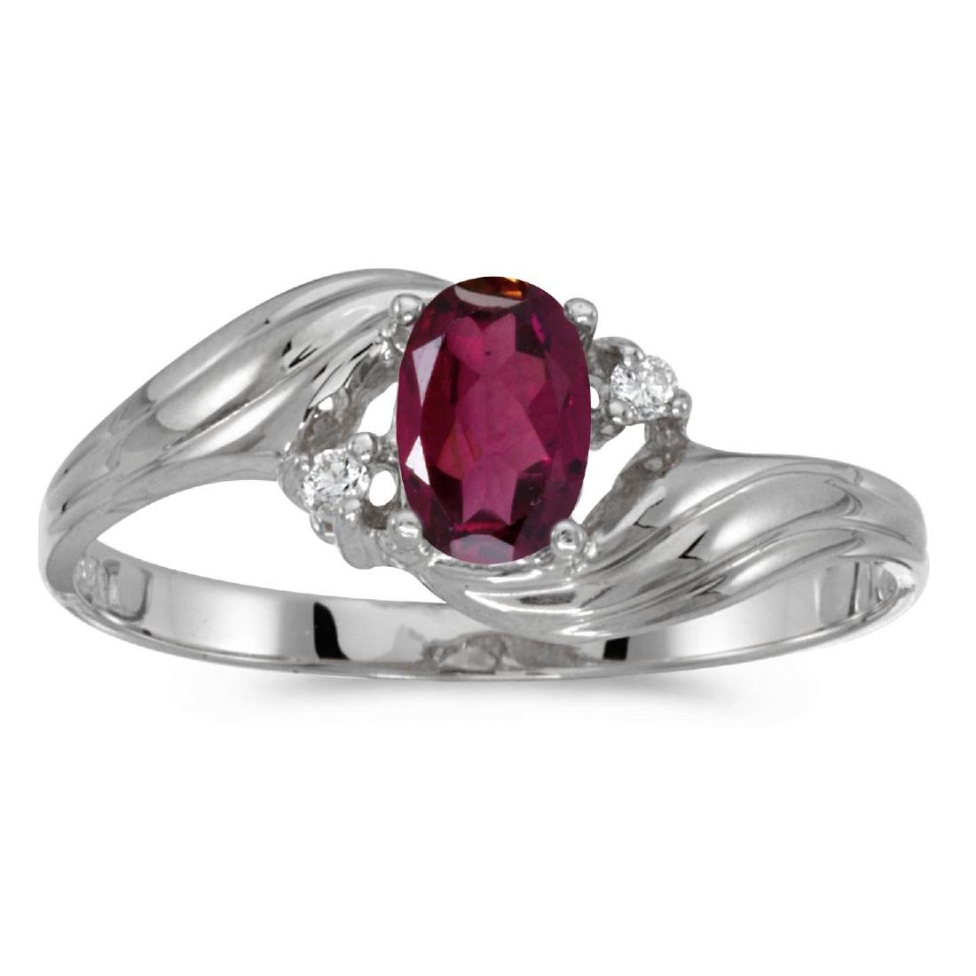 Certified 14k White Gold Oval Rhodolite Garnet And Diam
