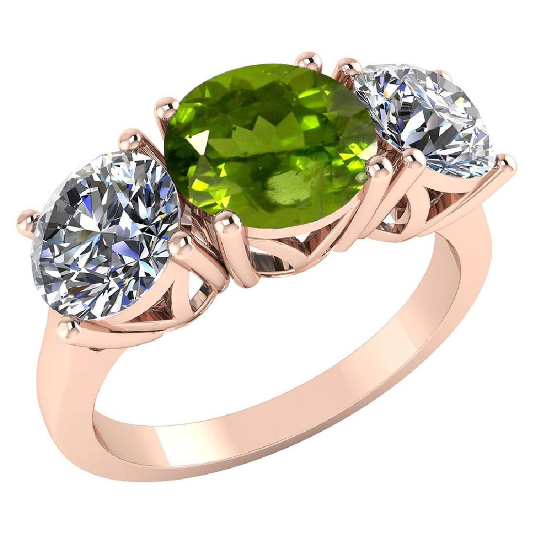 Certified 1.70 CTW Genuine Peridot And Diamond 14K Rose