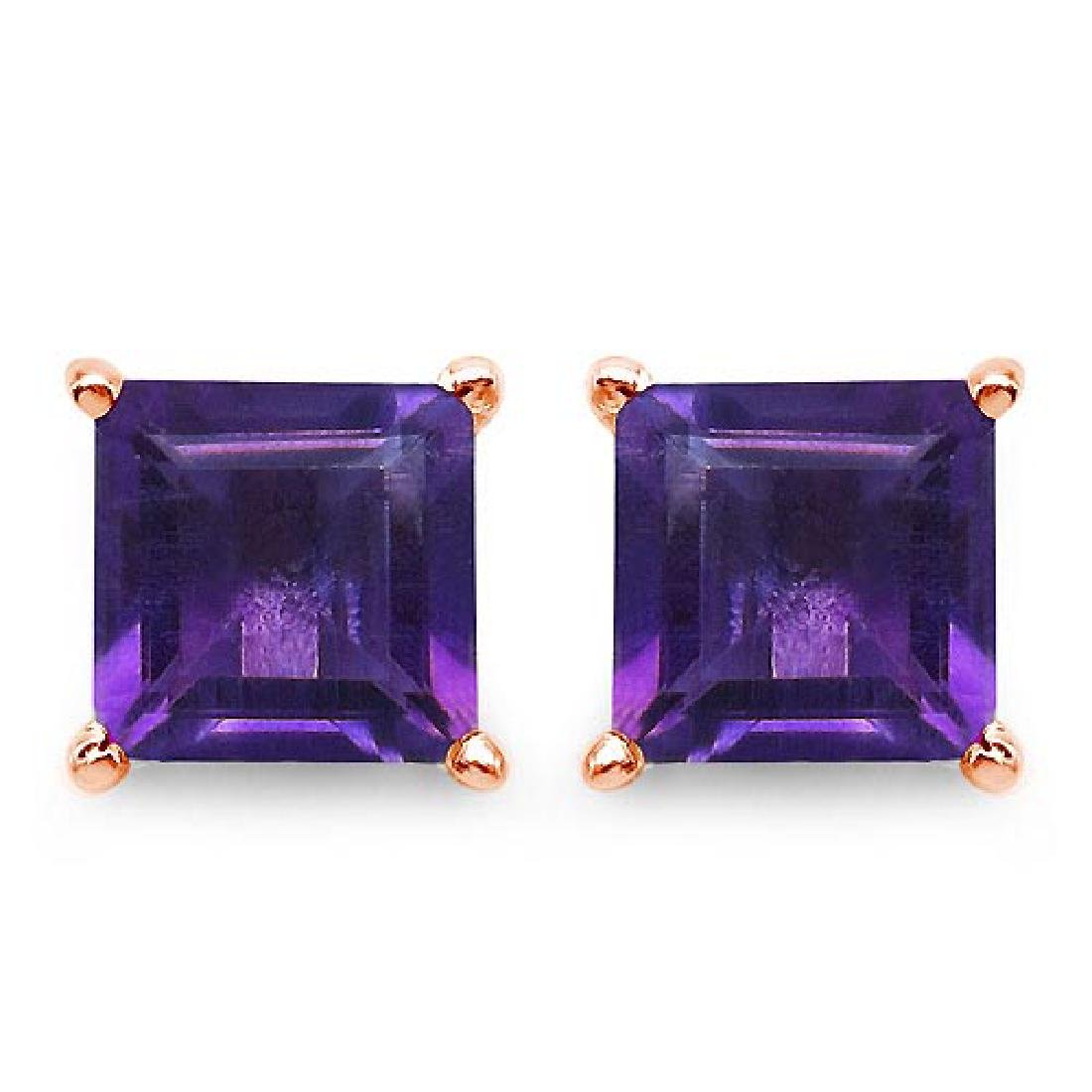 Certified 2.50 CTW Genuine Amethyst And 14K Rose Gold E