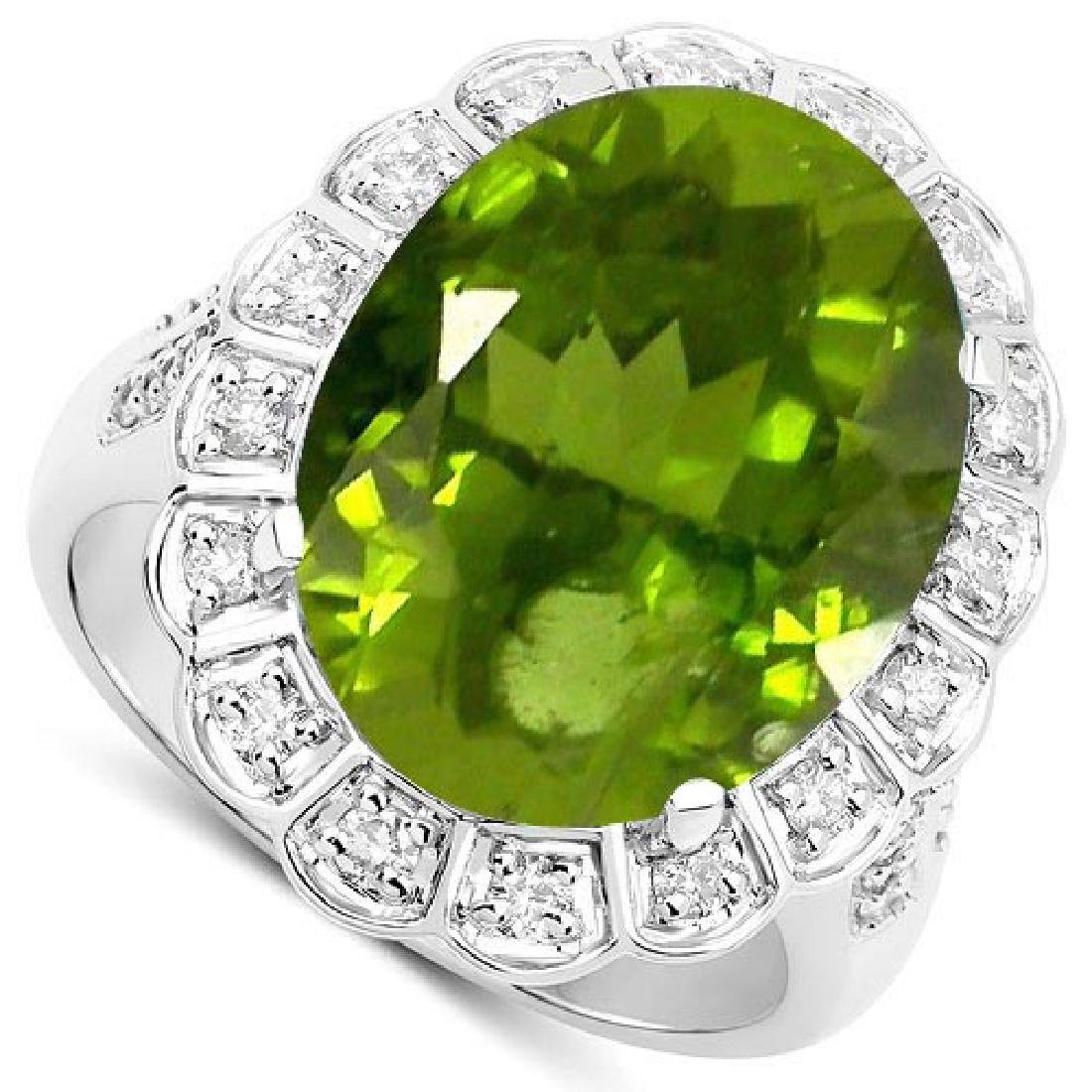 Certified 2.50 Ctw. Genuine Peridot And Diamond 14K Whi