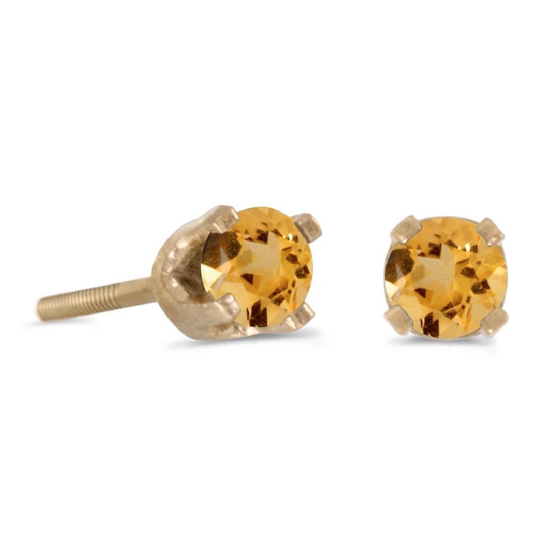Certified 3 mm Petite Round Citrine Screw-back Stud Ear