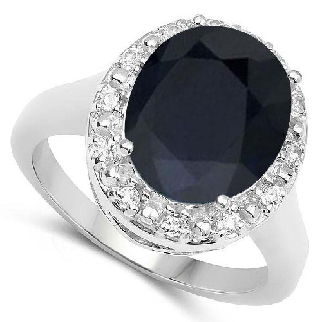 Certified 1.30 Ctw. Black Sapphire And Diamond 14K Whit