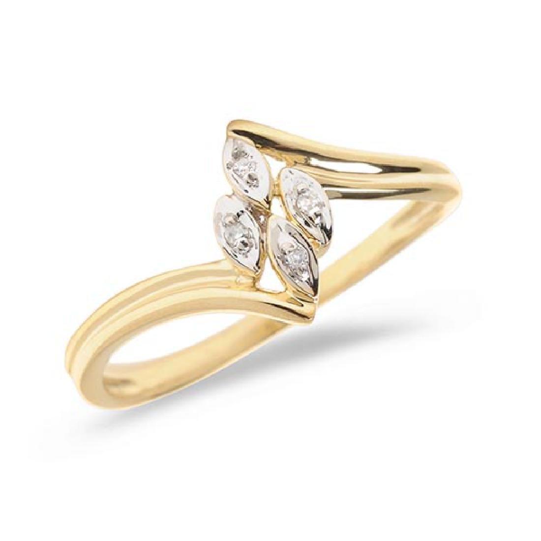 Certified 14K Yellow Gold Diamond Leaf Ring