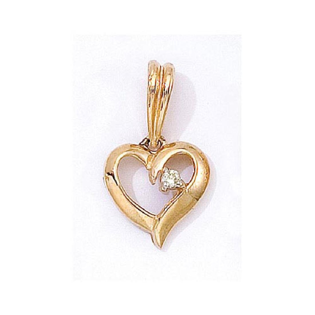 Certified 14K Yellow Gold Diamond Heart Pendant 0.03 CT