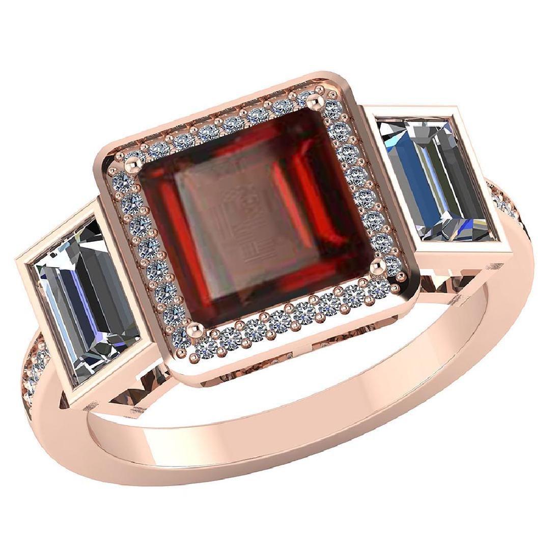 Certified 2.05 CTW Genuine Garnet And Diamond 14K Rose