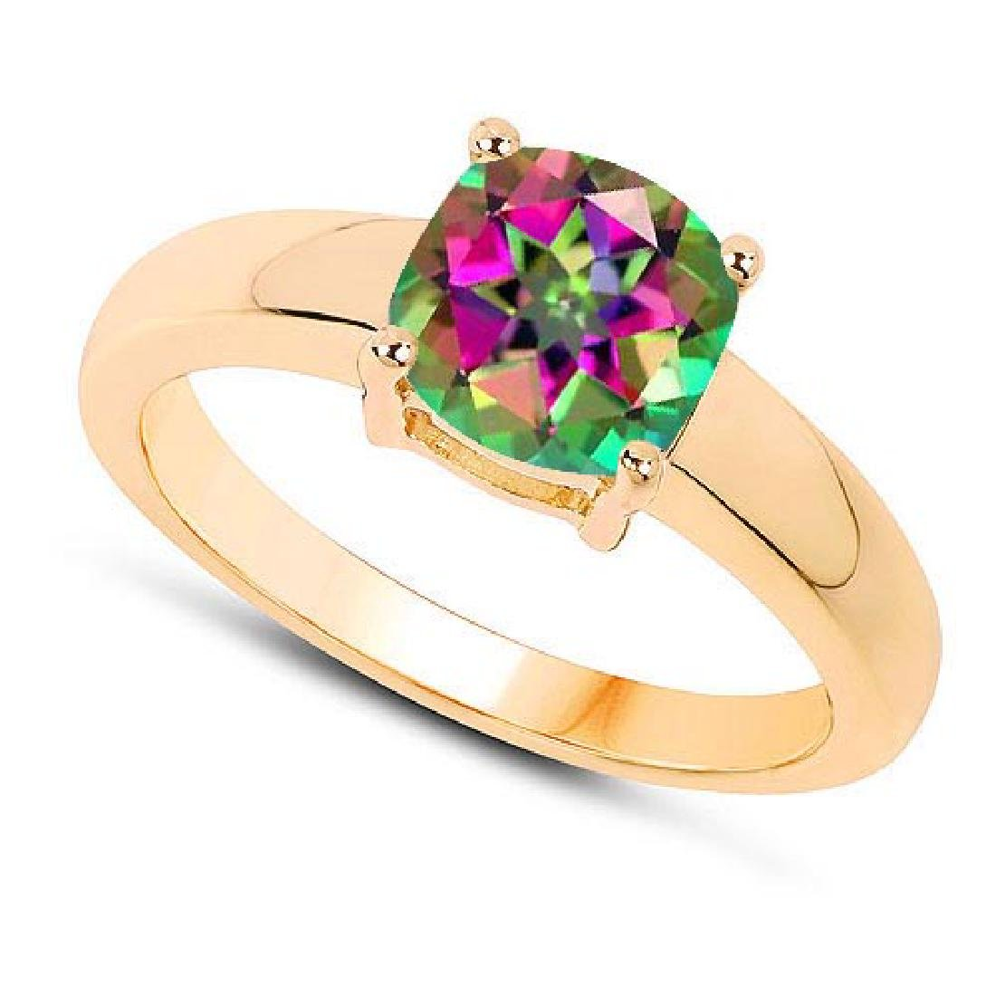 Certified 1.50 CTW Genuine Mystic Topaz And 14K Yellow