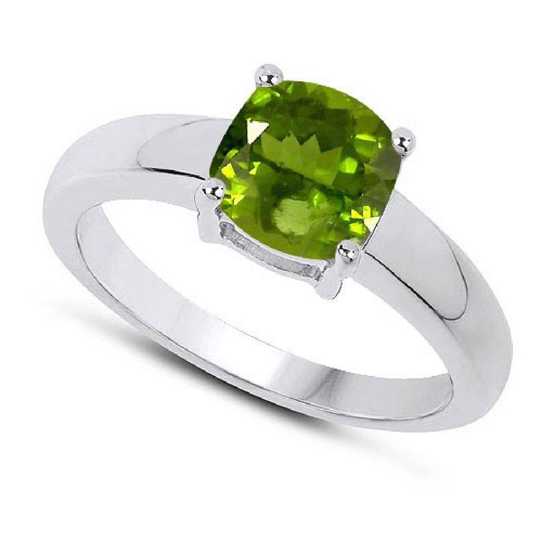 Certified 1.40 CTW Genuine Peridot And 14K White Gold R