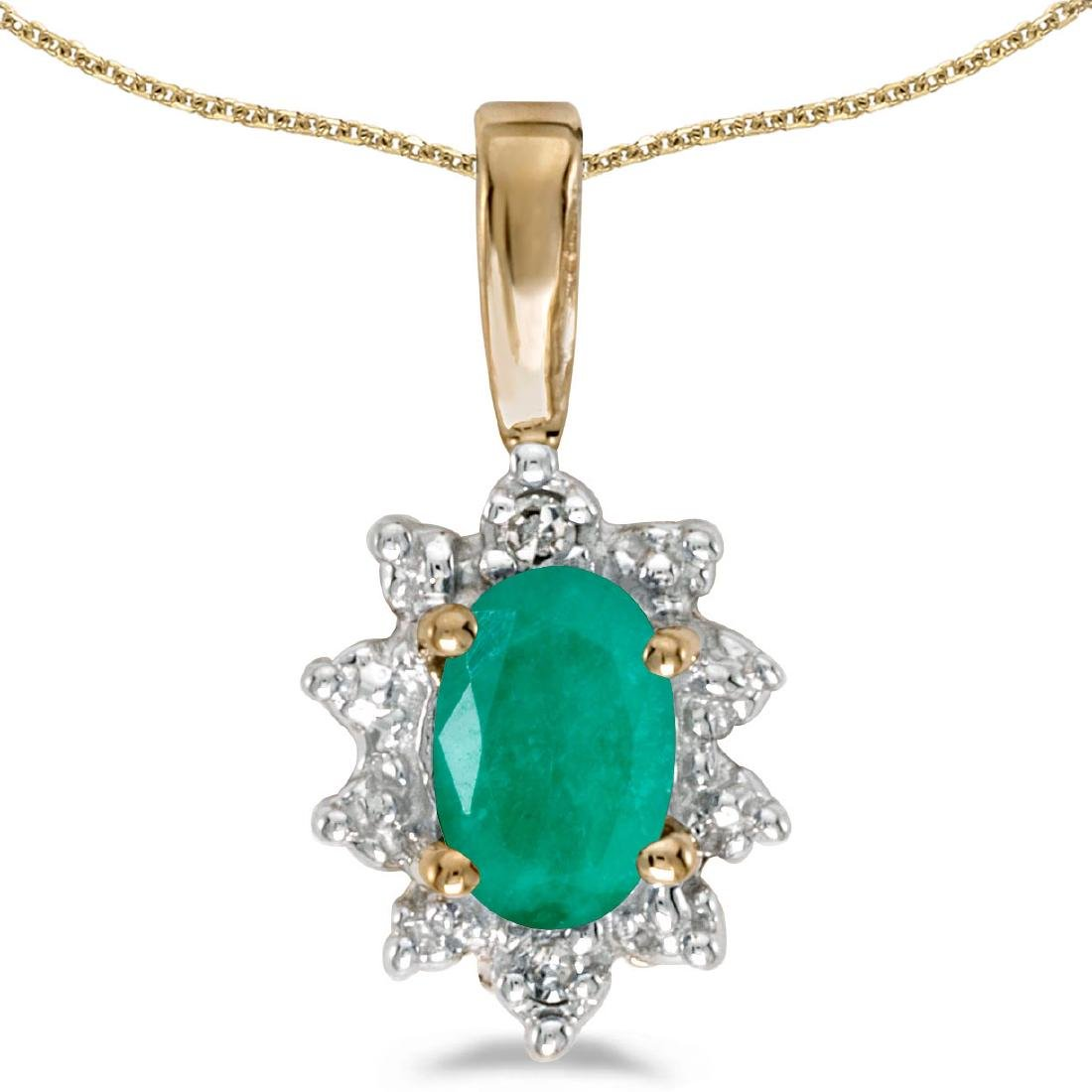 Certified 10k Yellow Gold Oval Emerald And Diamond Pend