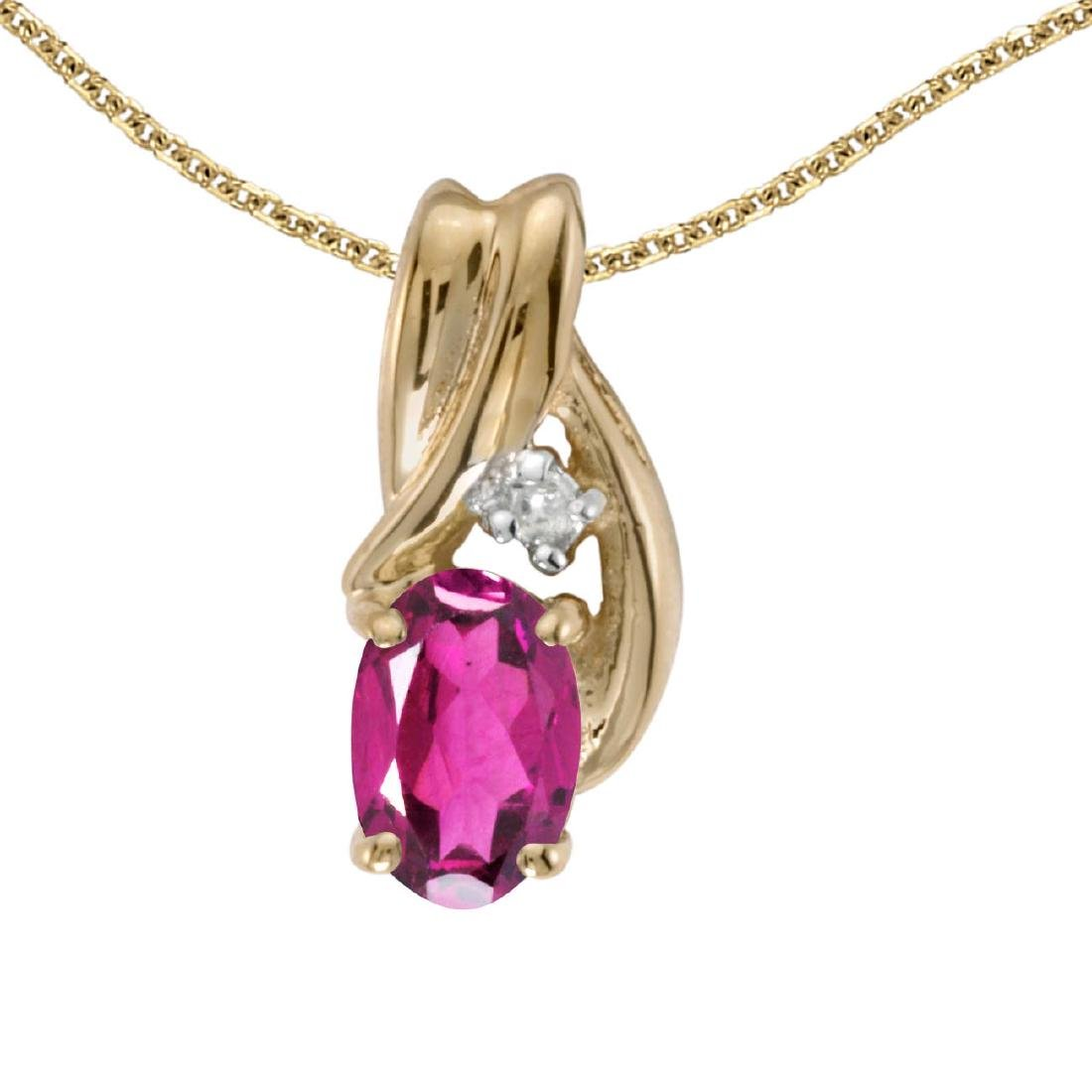 Certified 14k Yellow Gold Oval Pink Topaz And Diamond P