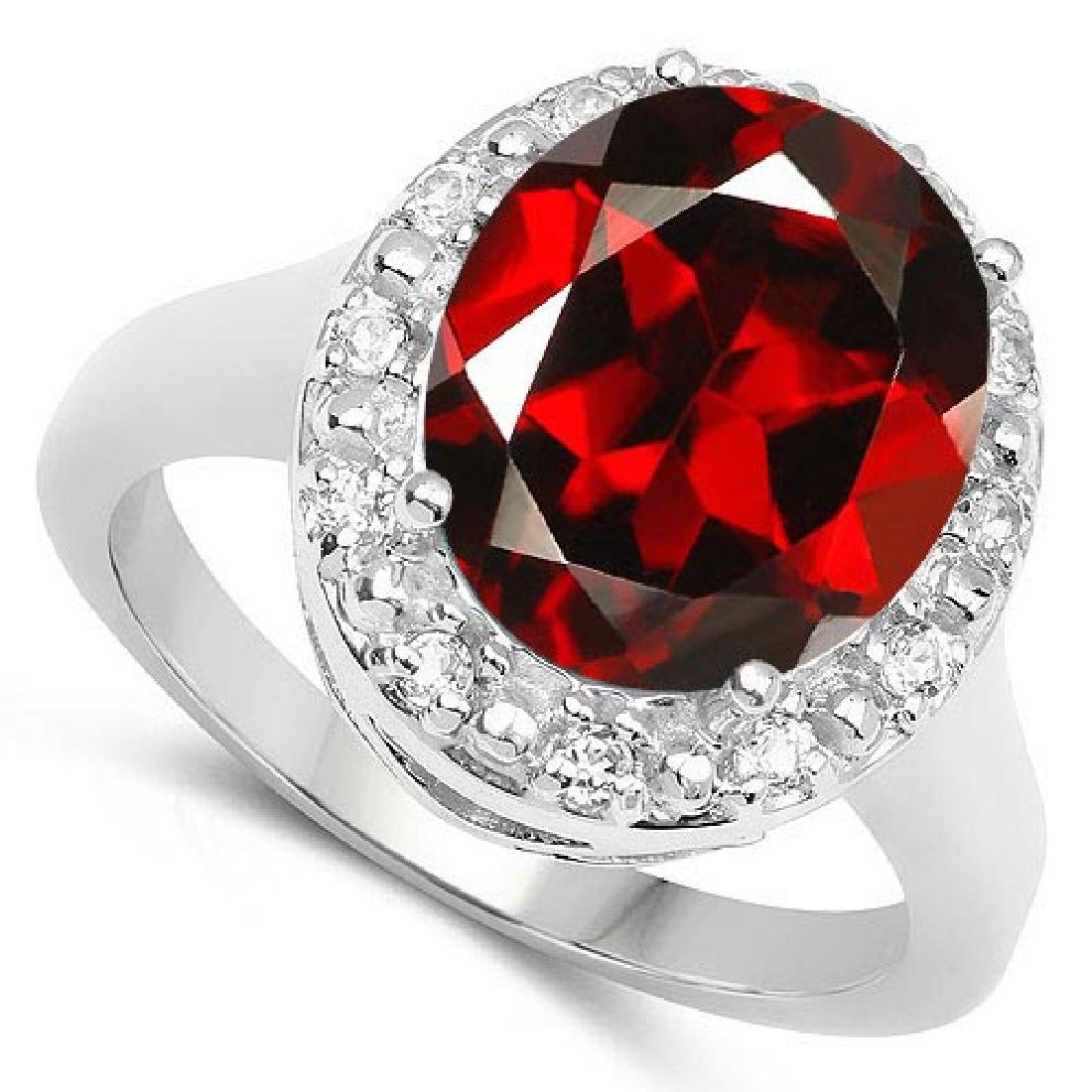 Certified 1.20 Ctw. Genuine Garnet And Diamond 14K Whit