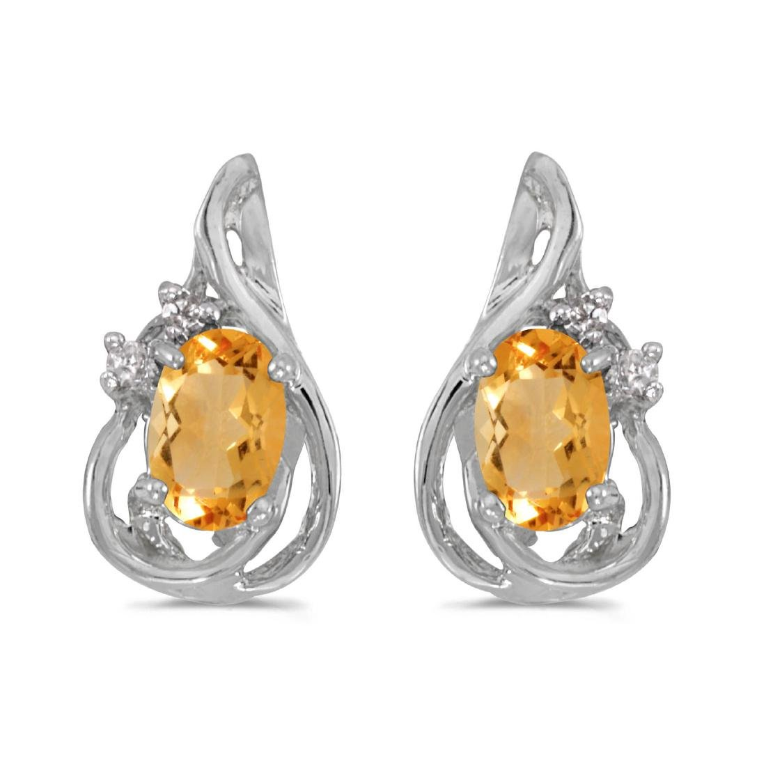 Certified 14k White Gold Oval Citrine And Diamond Teard
