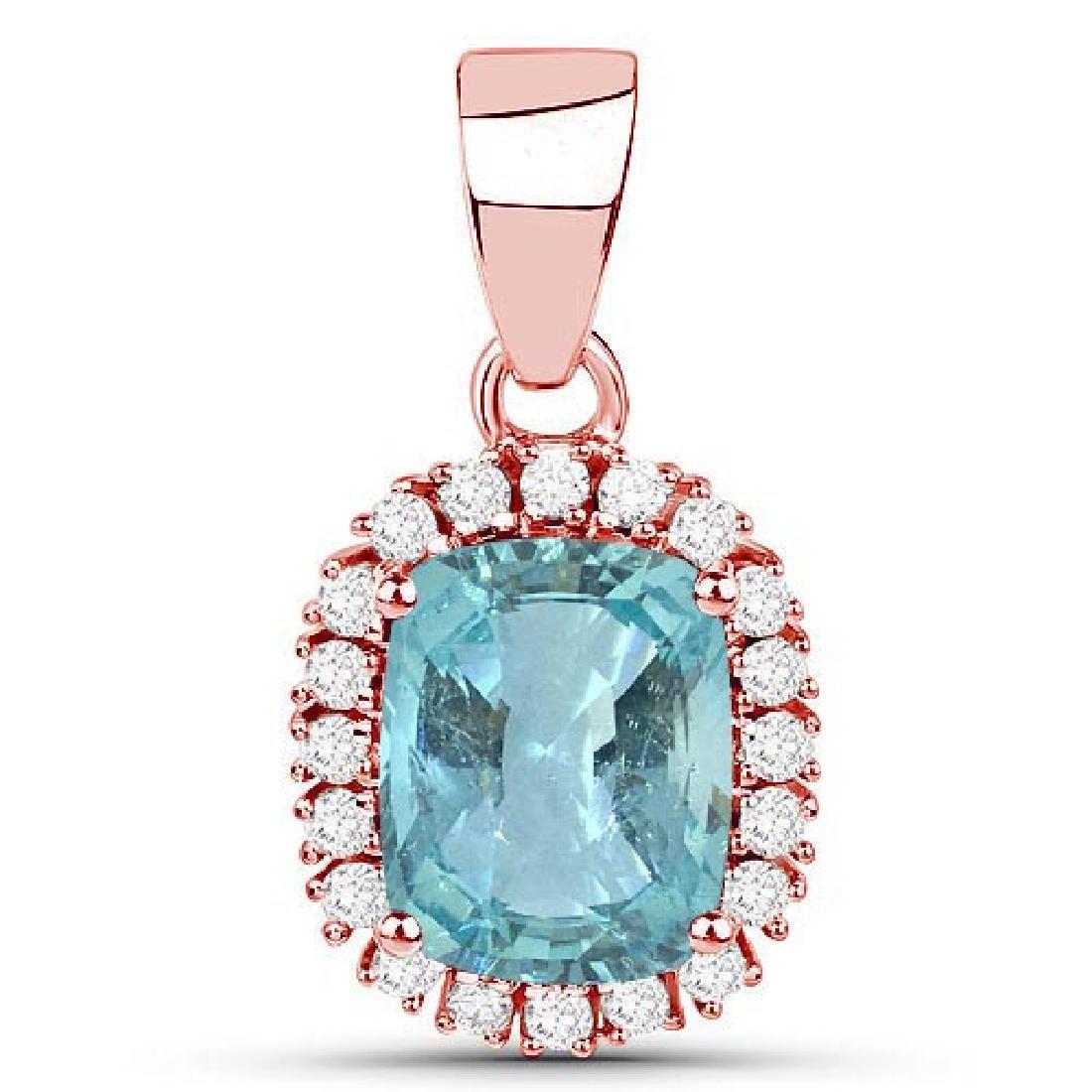 Certified 1.70 CTW Genuine Blue Topaz And Diamond 14K R