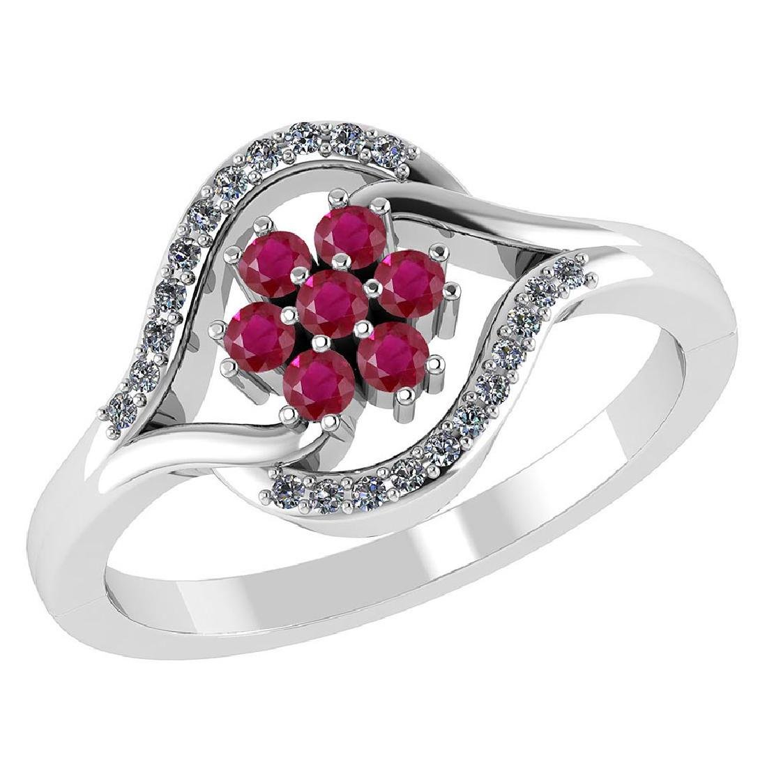 Certified 1.40 CTW Genuine Ruby And Diamond 14K White G