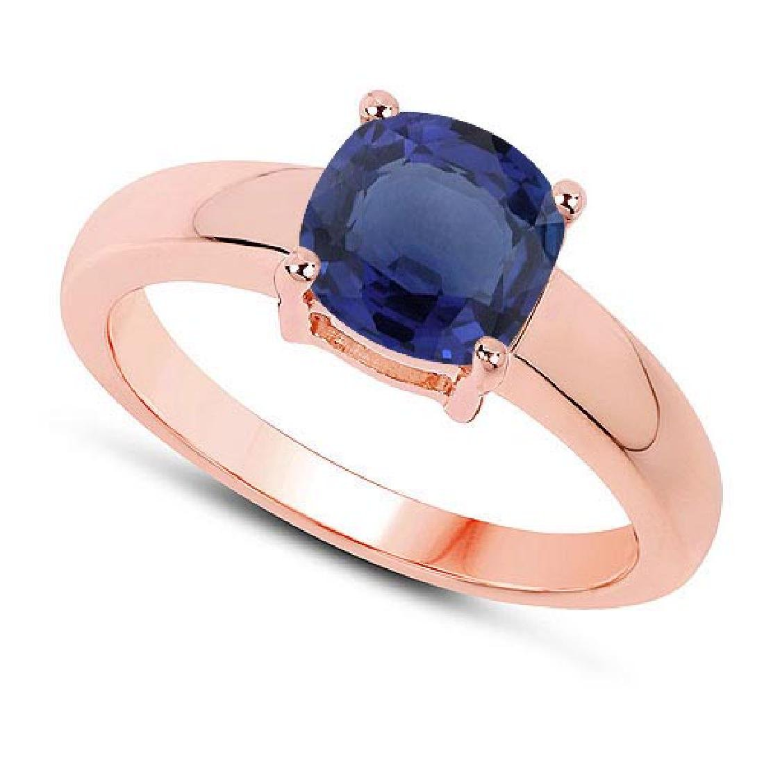 Certified 1.30 CTW Genuine Blue Sapphire And 14K Rose G