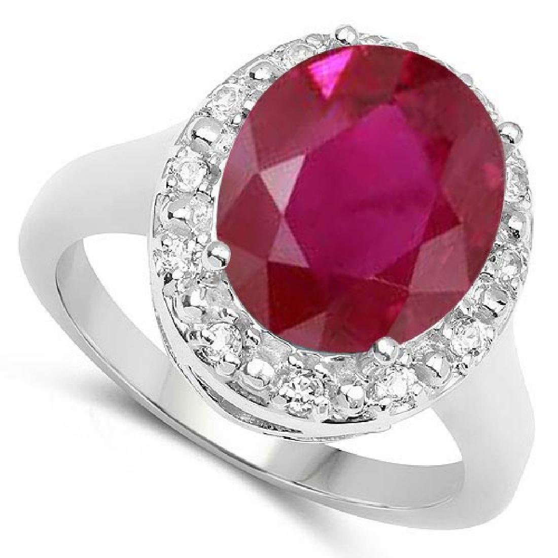 Certified 1.20 Ctw. Genuine Ruby And Diamond 14K White