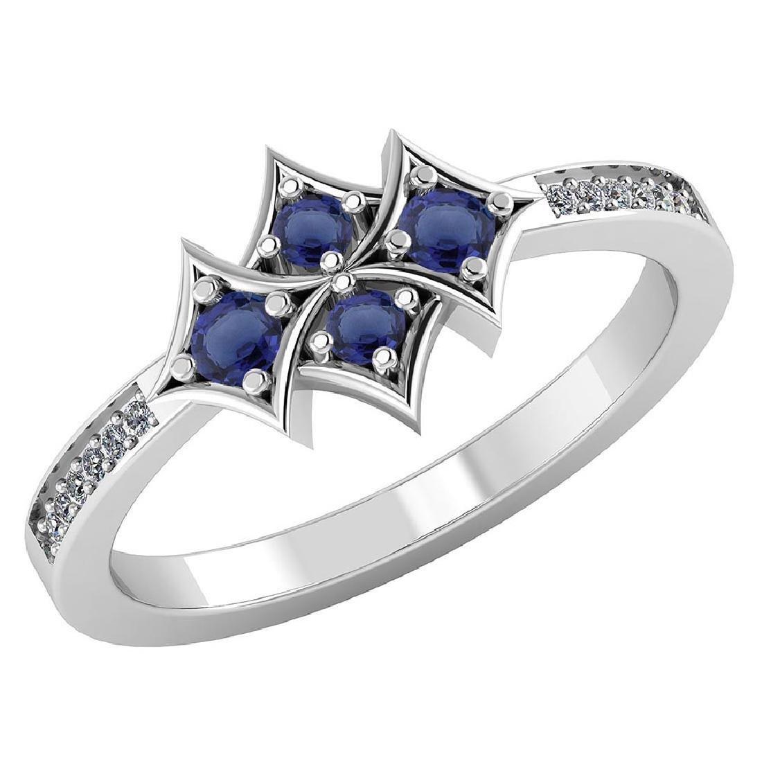 Certified 1.00 CTW Genuine Blue Sapphire And Diamond 14