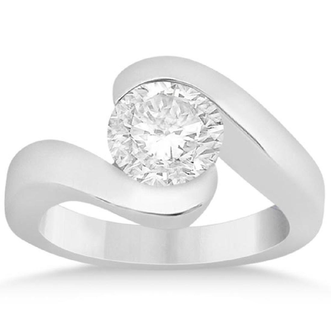 Solitaire Diamond Tension Set Engagement Ring 14K .90ct