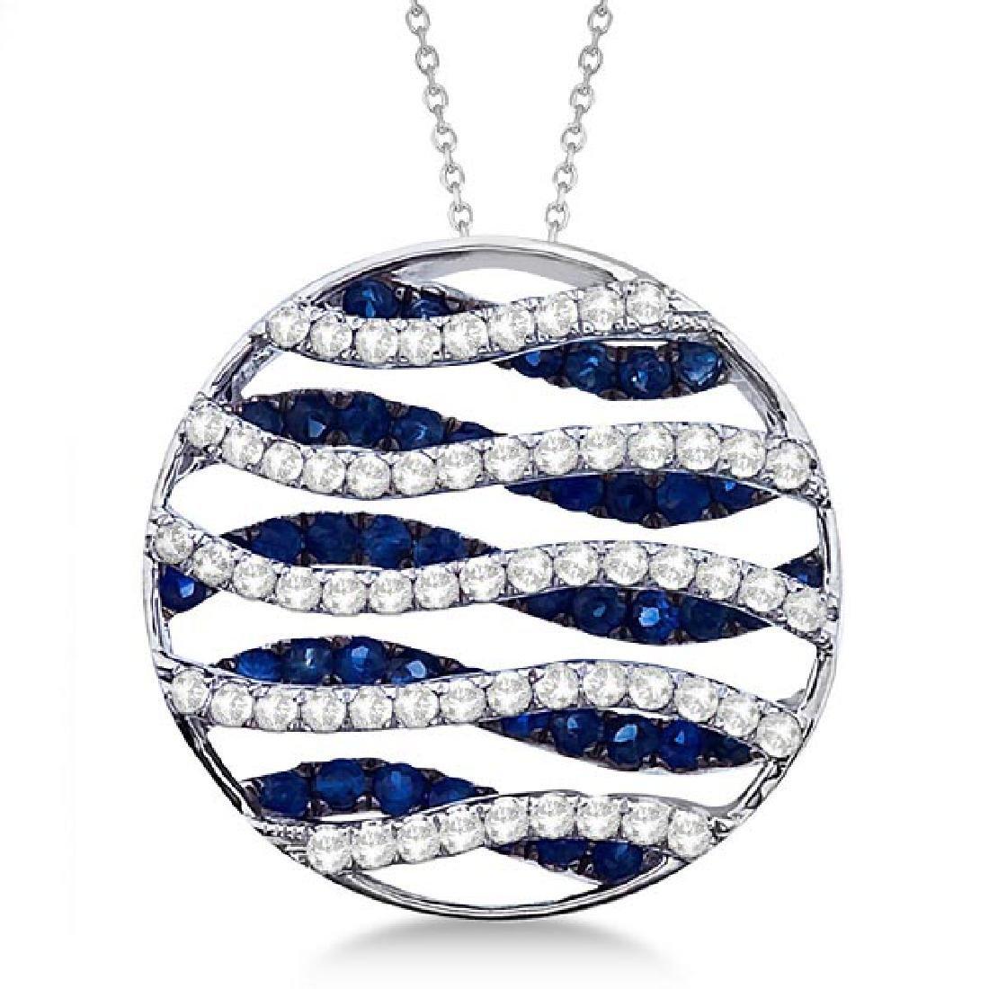 Circle Blue Sapphire and Diamond Pendant Necklace 14K W