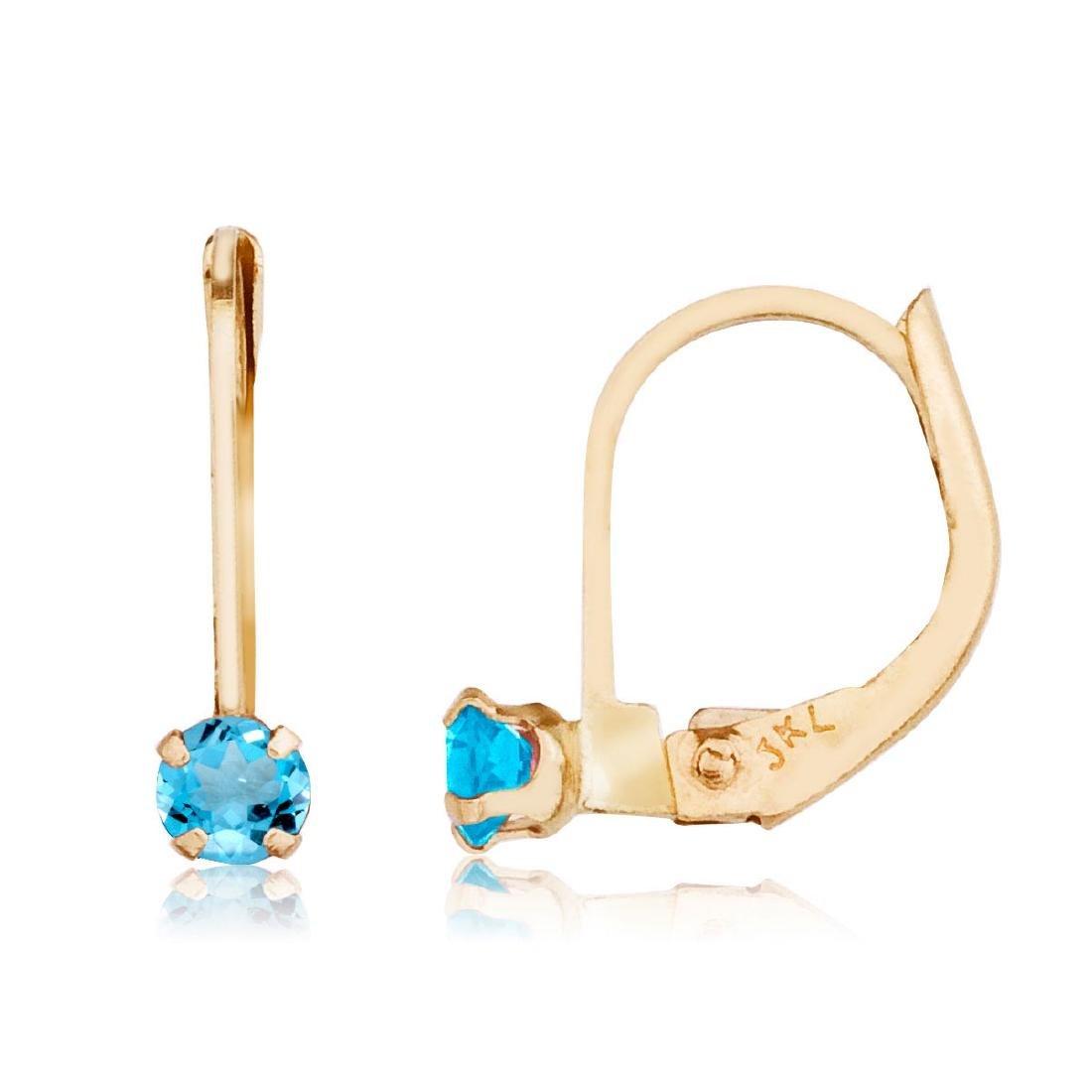 Certified 14k Petite Blue Topaz Leverback Earrings 0.2