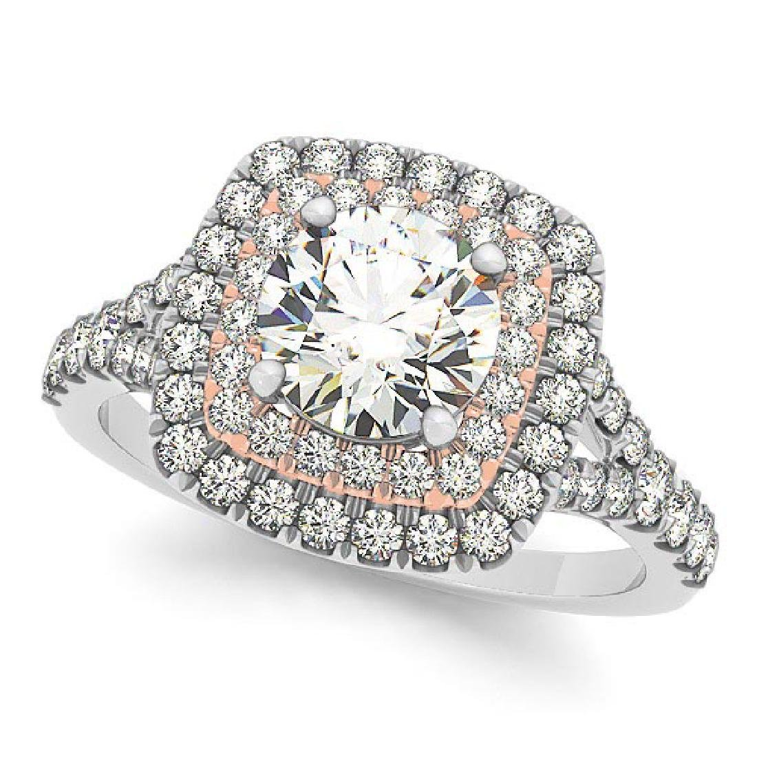 Square Double Halo Diamond Engagement Ring 14k Two Tone