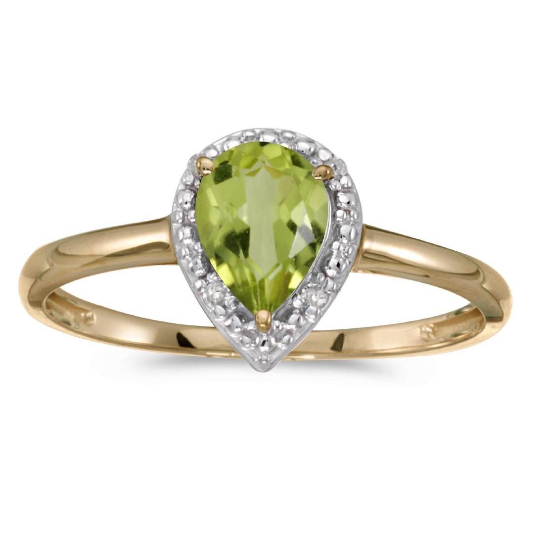 Certified 14k Yellow Gold Pear Peridot And Diamond Ring