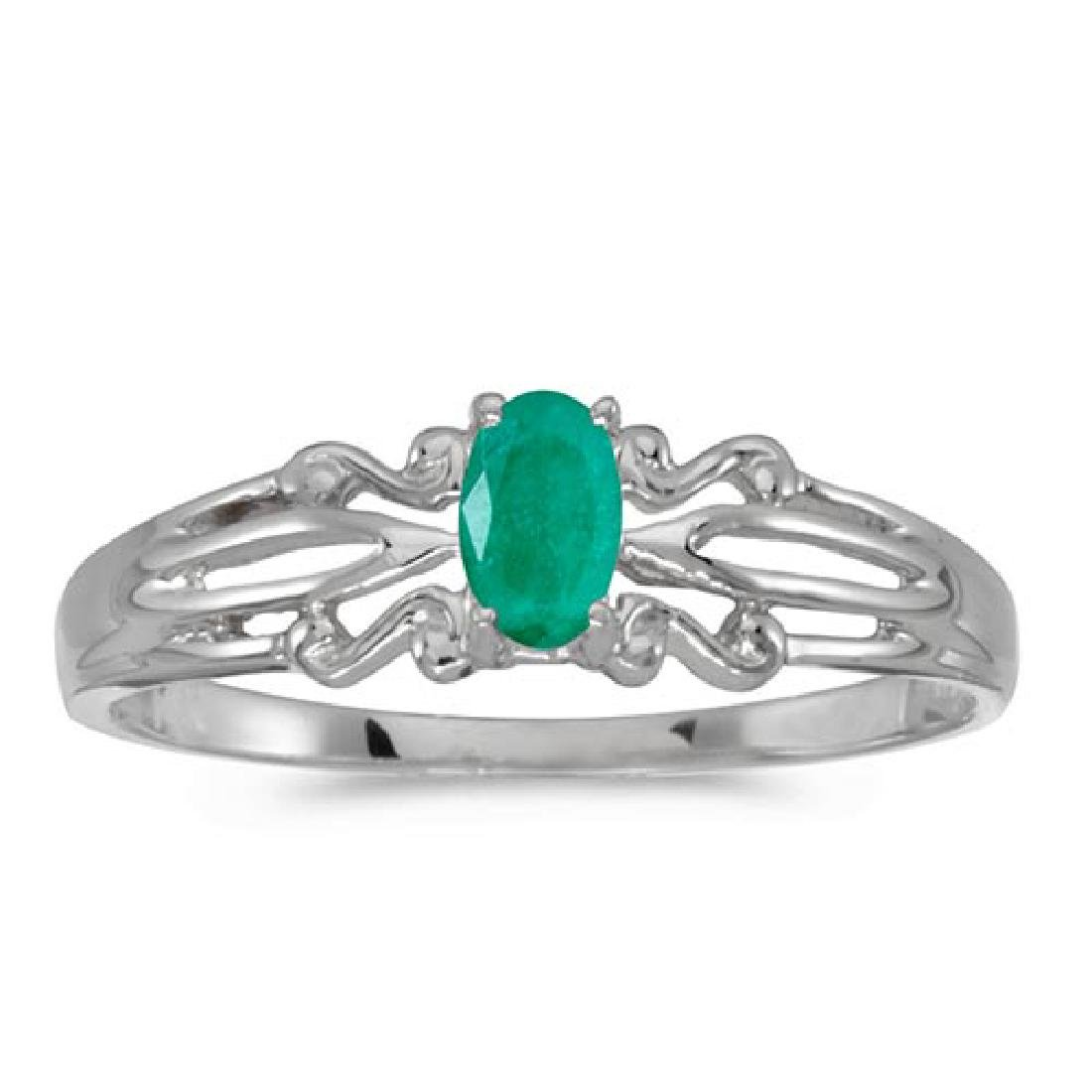 Certified 14k White Gold Oval Emerald Ring