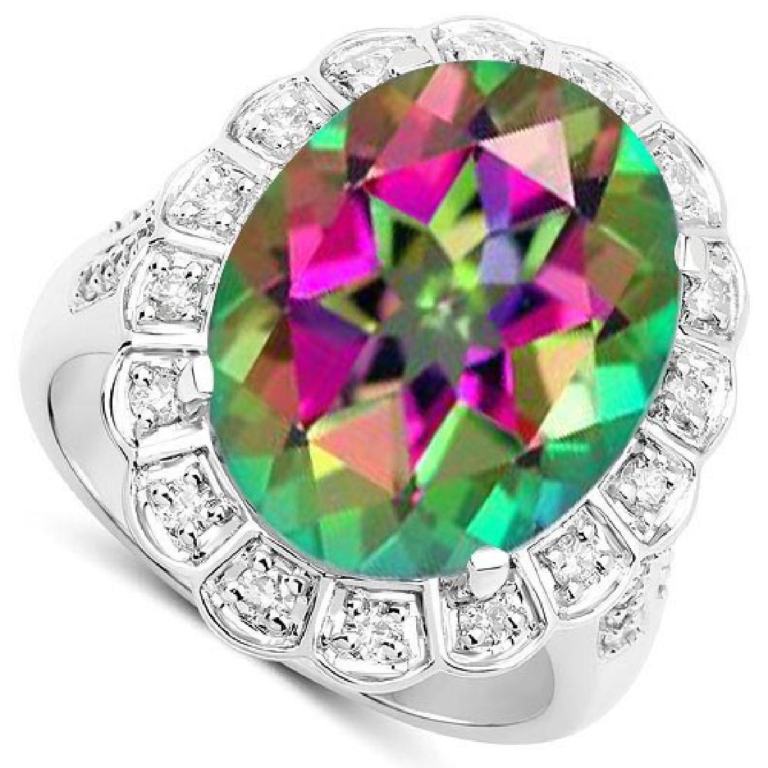 Certified 2.50 Ctw. Genuine Mystic Topaz And Diamond 14