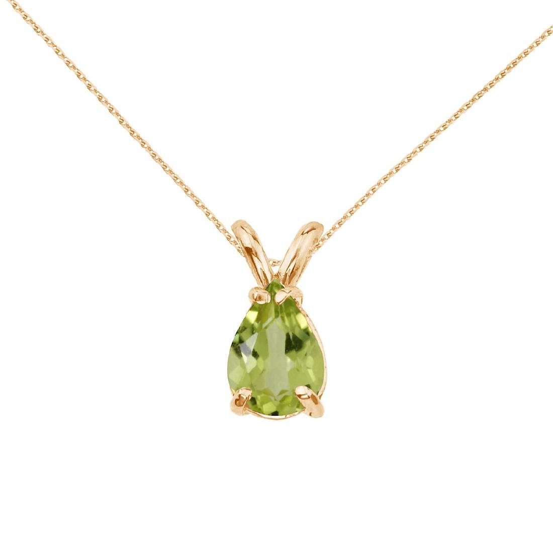 Certified 14k Yellow Gold Pear Shaped Peridot Pendant 0