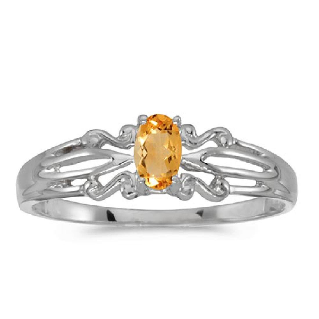 Certified 14k White Gold Oval Citrine Ring