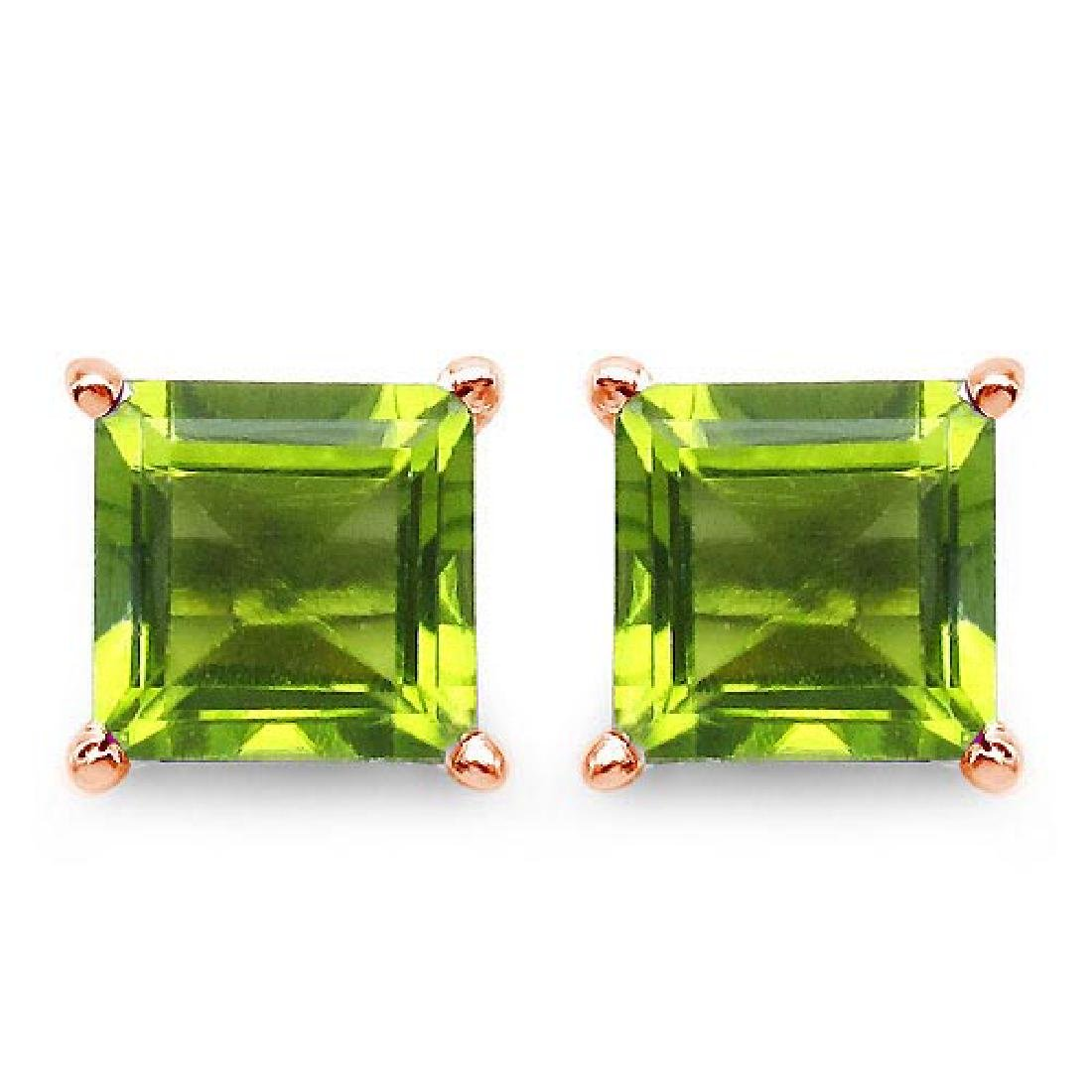 Certified 2.50 CTW Genuine Peridot And 14K Rose Gold Ea
