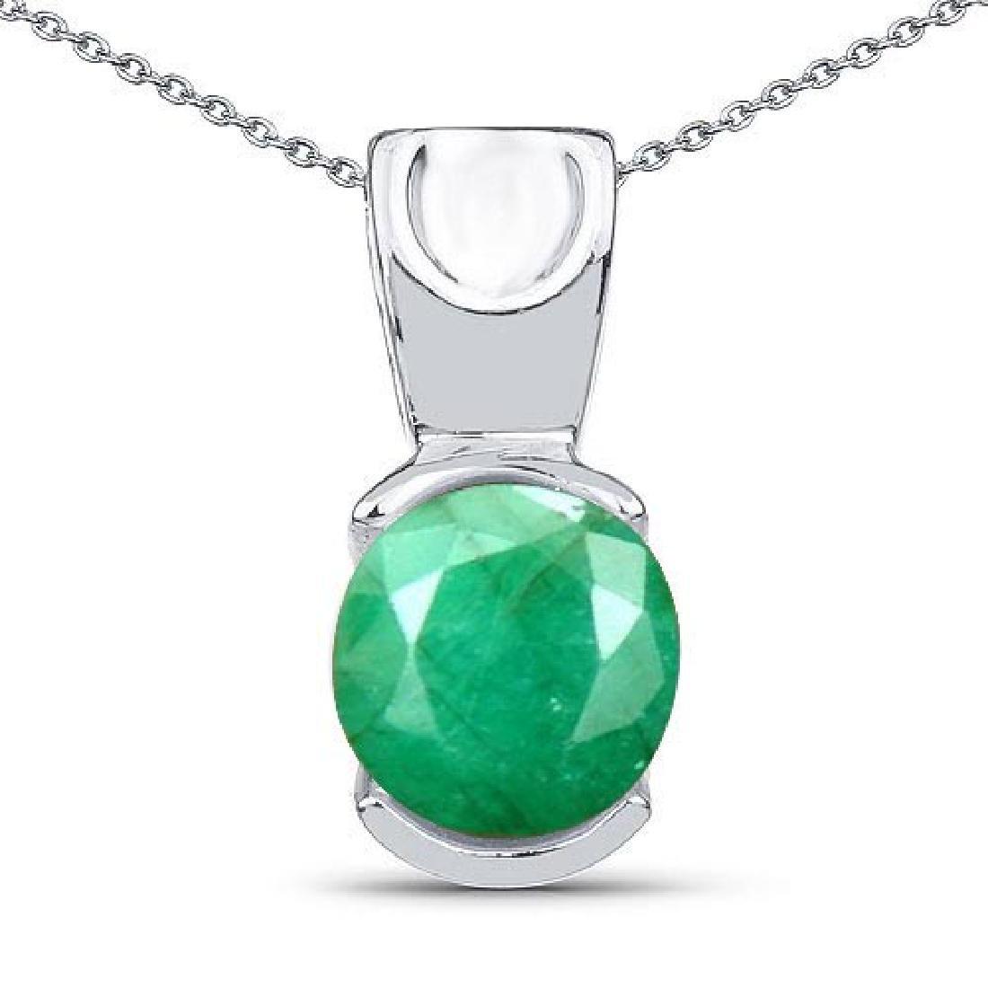 Certified 1.30 CTW Genuine Emerald 14K White Gold Penda
