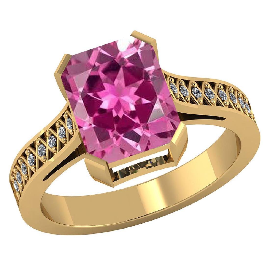 Certified 3.15 CTW Genuine Pink Tourmaline And Diamond