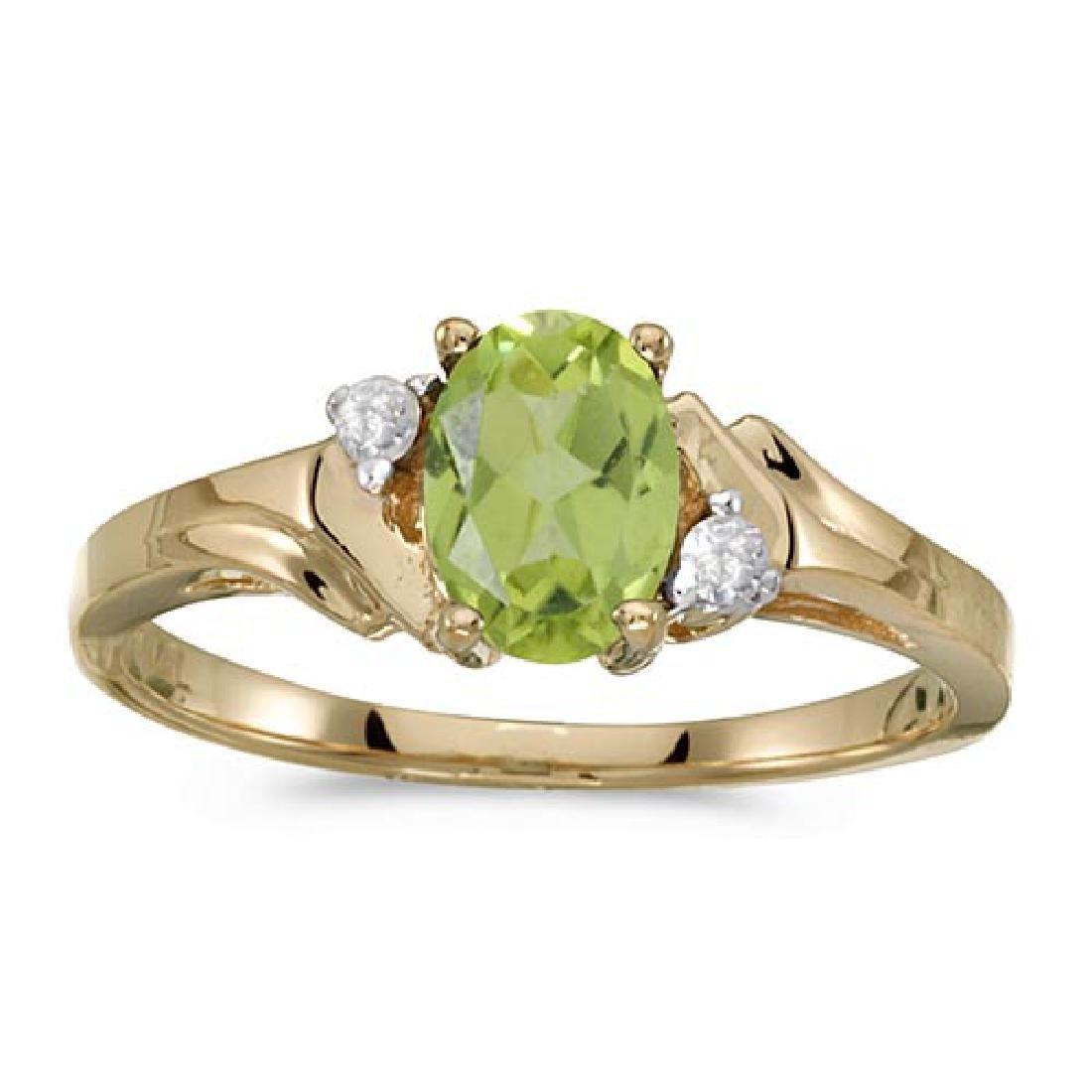 Certified 14k Yellow Gold Oval Peridot And Diamond Ring