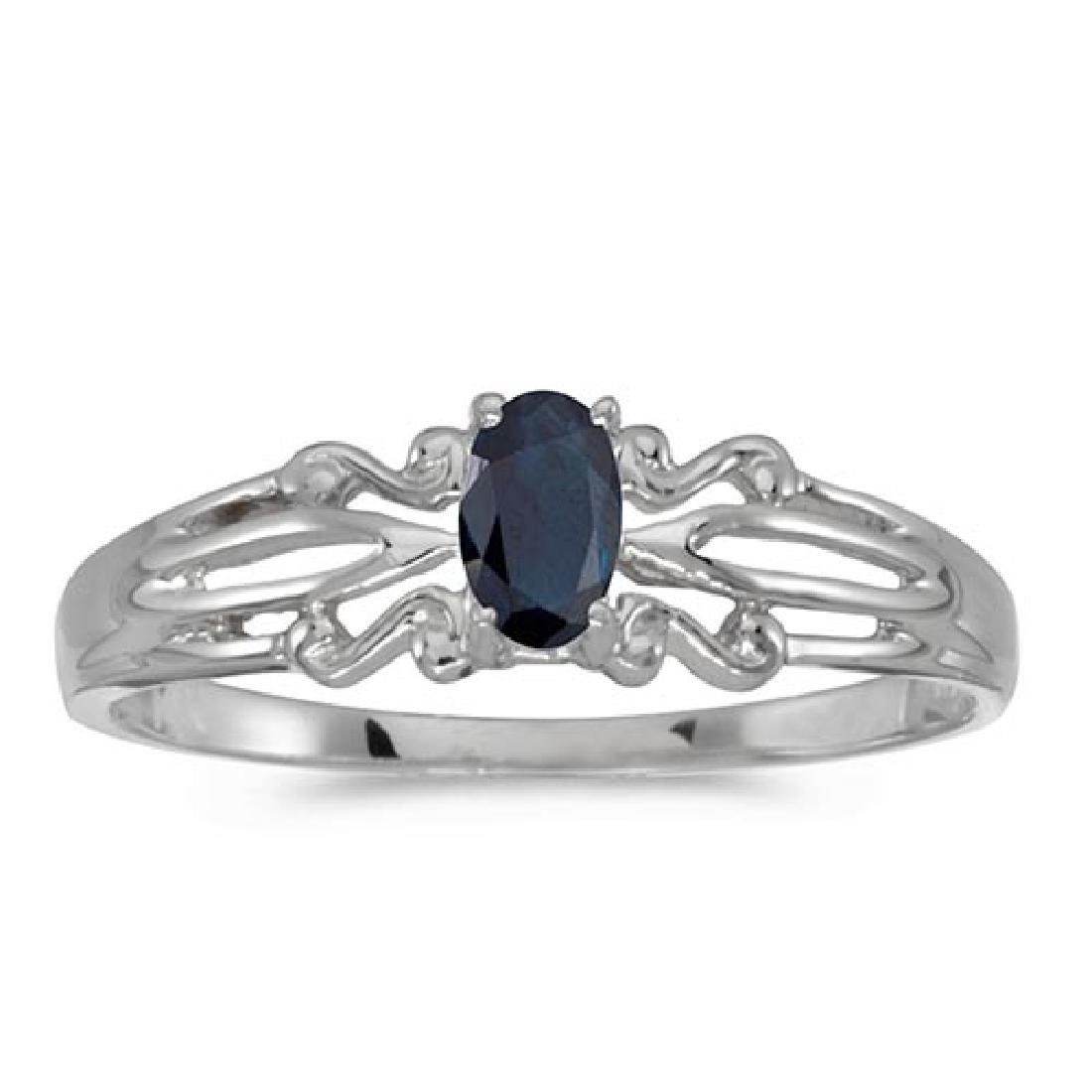 Certified 14k White Gold Oval Sapphire Ring