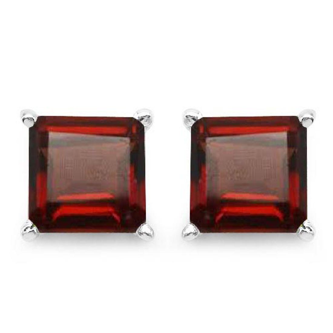 Certified 2.50 CTW Genuine Garnet And 14K White Gold Ea