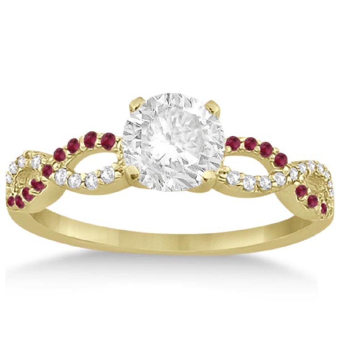 Infinity Diamond and Ruby Gemstone Engagement Ring 14K