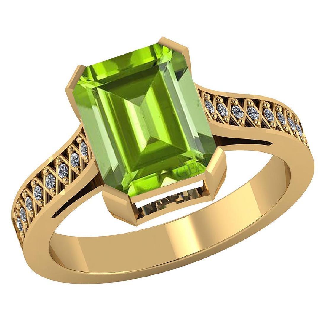 Certified 2.95 CTW Genuine Peridot And Diamond 14K Yell