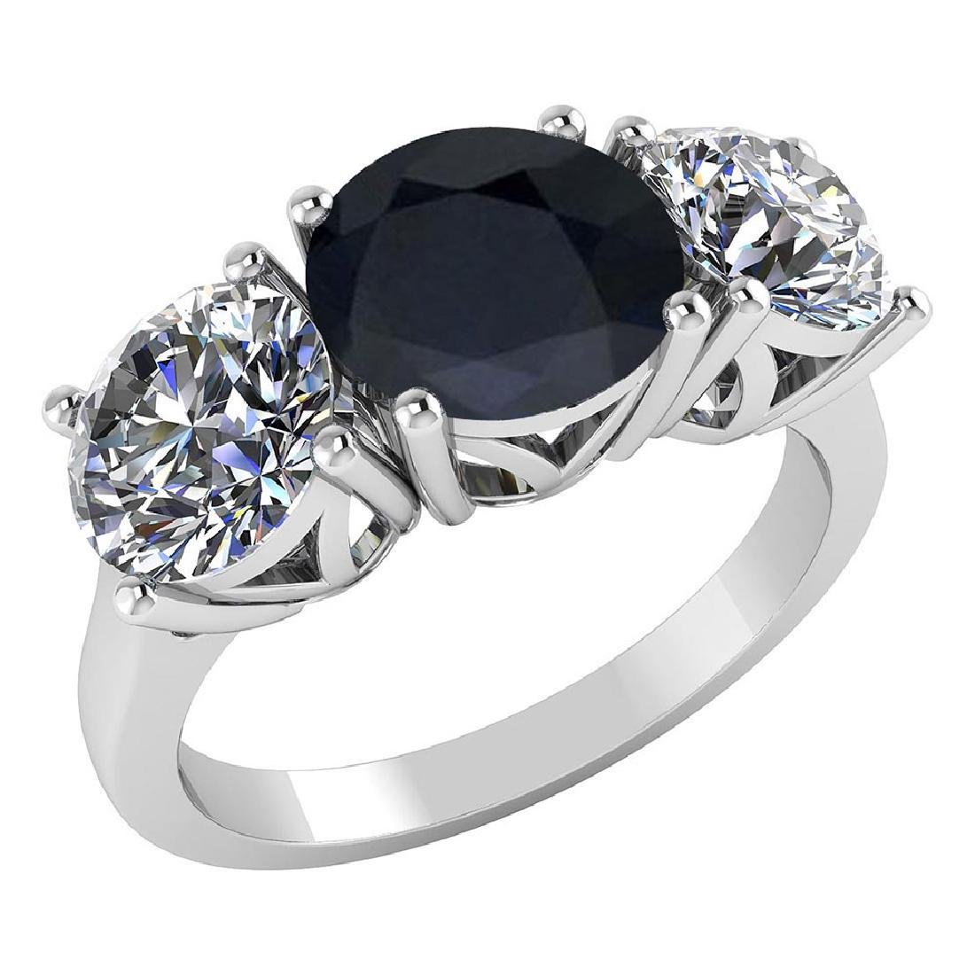 Certified 1.60 CTW Genuine Black Sapphire And Diamond 1