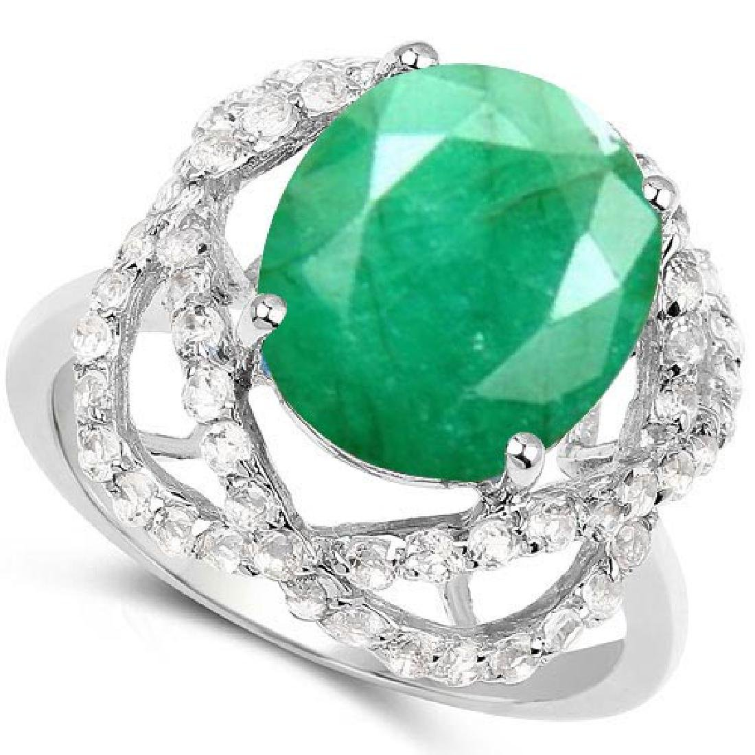Certified 1.70 Ctw. Genuine Emerald And Diamond 14K Whi