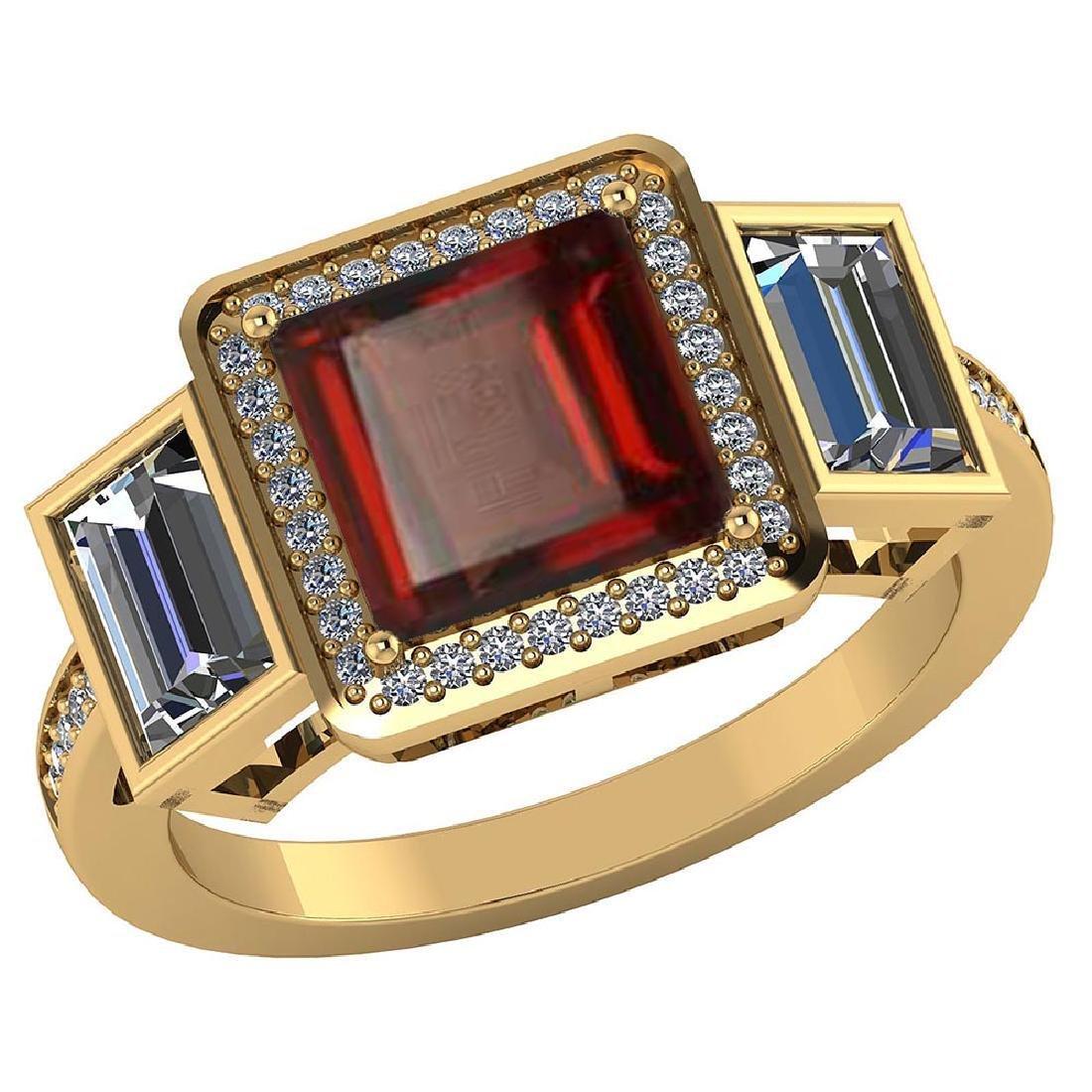 Certified 2.05 CTW Genuine Garnet And Diamond 14K Yello