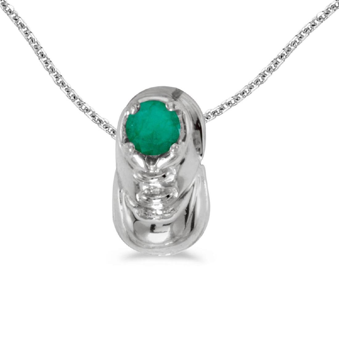 Certified 10k White Gold Round Emerald Baby Bootie Pend