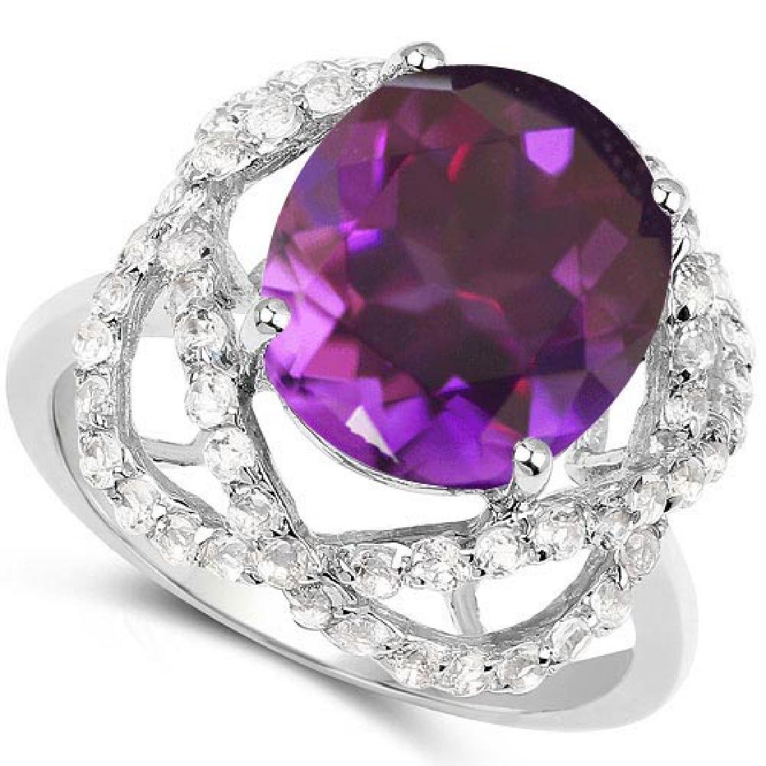 Certified 1.70 Ctw. Genuine Amethyst And Diamond 14K Wh