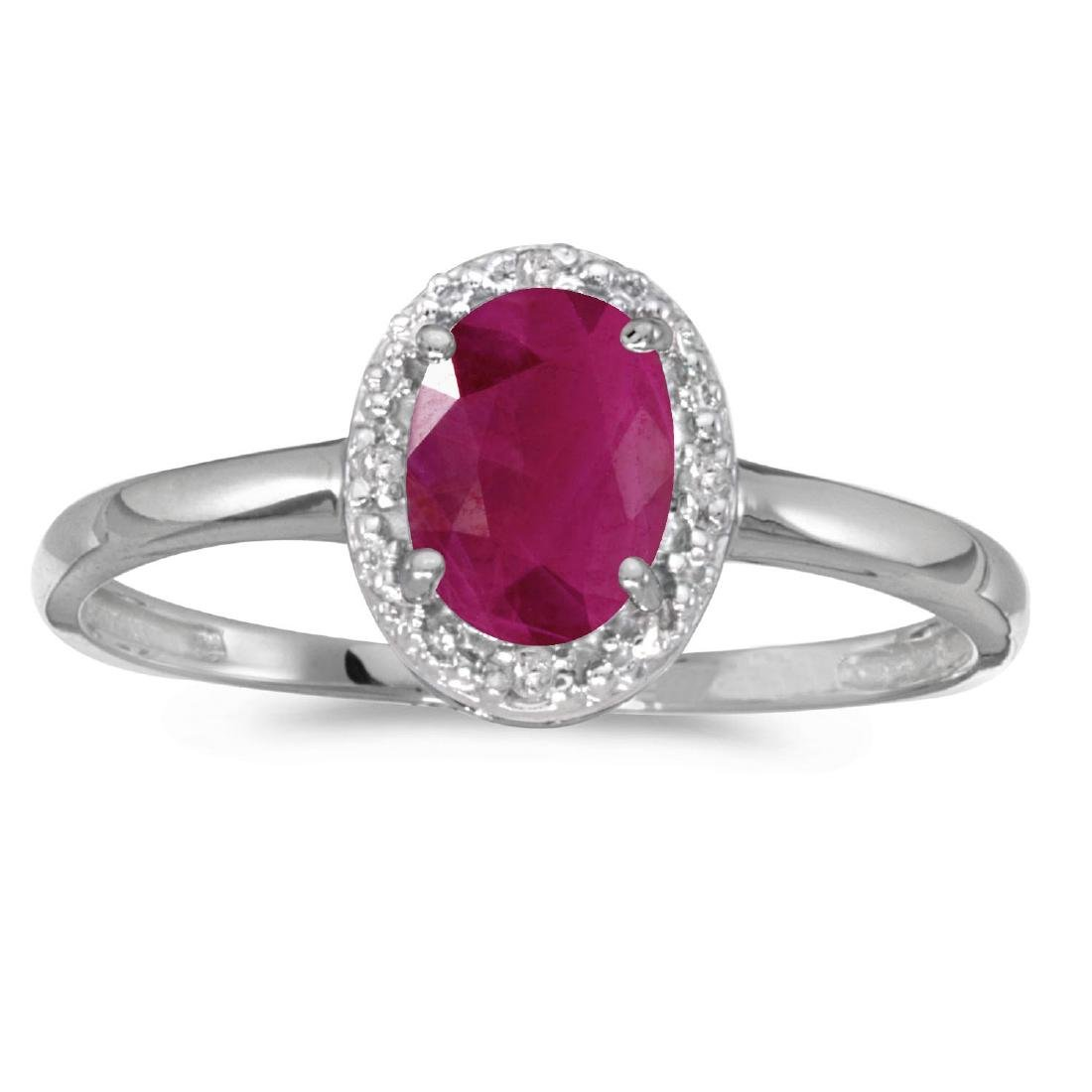 Certified 10k White Gold Oval Ruby And Diamond Ring 0.7