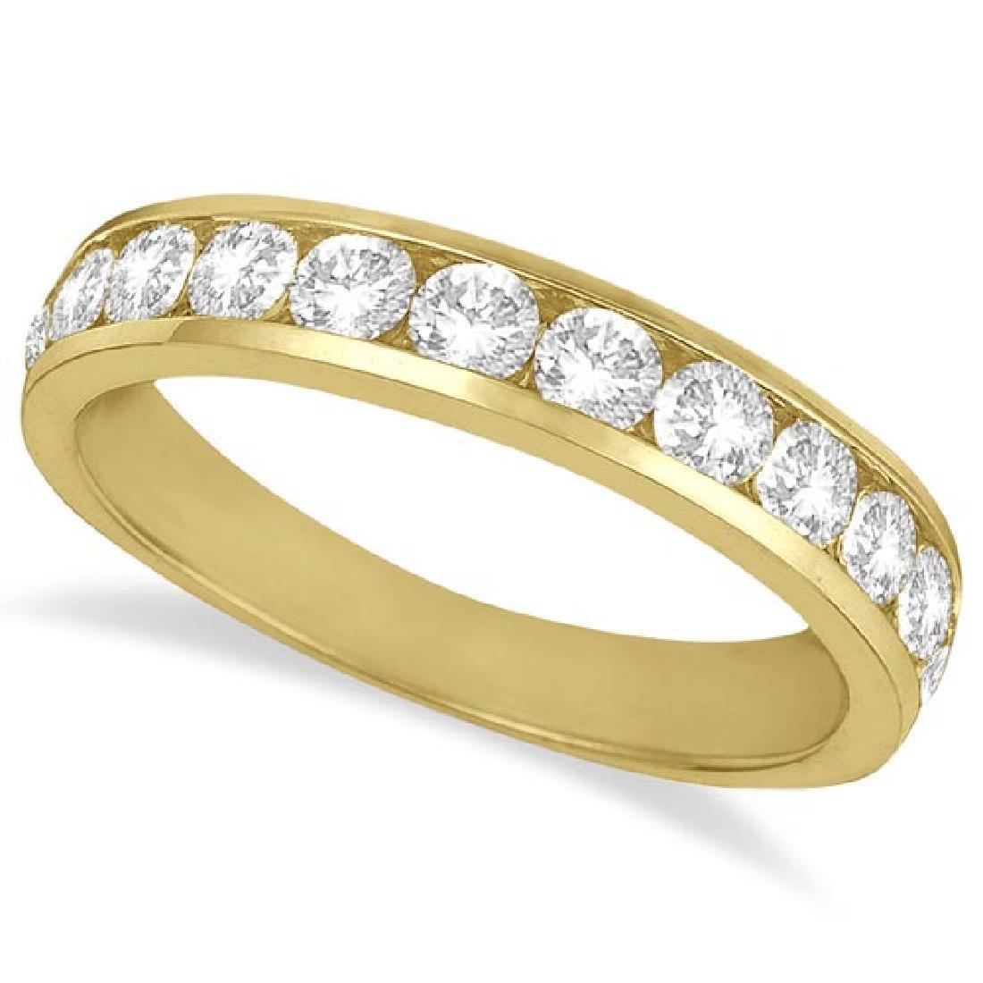 Channel-Set Diamond Anniversary Ring Band 14k Yellow Go